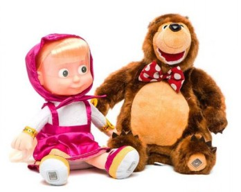 """Мягкая музыкальная игрушка """"Маша и медведь"""" Песенка, смех, 6 фраз."""