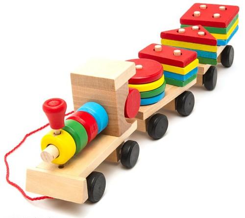 Деревянный паровозик геометрический Nooden Toys