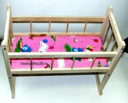 Кроватка для кукол деревянная с постельным бельем Россия